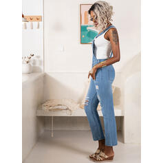Solid Strap Sleeveless Casual Denim Jumpsuit