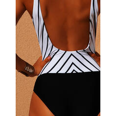 Striped Strap V-Neck Sexy One-piece Swimsuits
