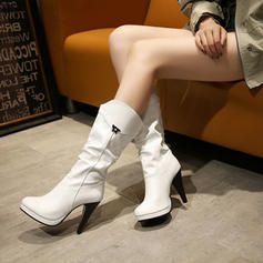 Women's Leatherette Stiletto Heel Pumps Closed Toe Boots Knee High Boots Mid-Calf Boots With Buckle shoes