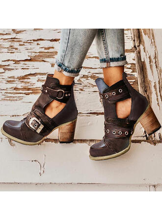 Women's PU Chunky Heel Pumps Closed Toe Boots Martin Boots Round Toe With Buckle Hollow-out Solid Color shoes
