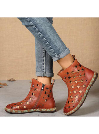 Women's Microfiber Flat Heel Flats High Top With Hollow-out shoes