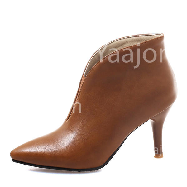Women's Leatherette Stiletto Heel Pumps Closed Toe Boots Ankle Boots With Elastic Band shoes